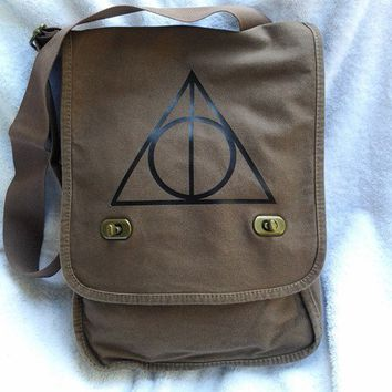 Deathly Hallows Messenger Bag Harry Potter Brown Canvas Messenger Bag | bagnabitbags - Bags & Purses on ArtFire