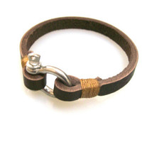 Leather Bracelet with Steel Shackle Clasp Dark by braceletmixx
