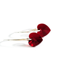 Small Red Heart Earrings Beadwork Earrings Swarovski Jewelry Romantic Gift For Her