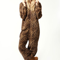 Jenny Supersoft Fleece Leopard Hooded Onesuit