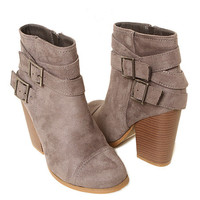 Papaya Clothing Online :: FAUX SUEDE BELTED BUCKLE BOOTIE