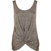 Beige metallic knot hem vest