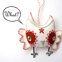 Handstiched Felt Owl Ornament white by RawBoneStudio on Etsy