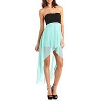 Pleated Bust Hi-Low 2-Fer Dress: Charlotte Russe