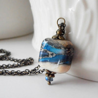 Blue Necklace Glass Bead Pendant Lampwork Jewelry Vintage Style Antiqued Bronze Handmade Beaded Jewelry