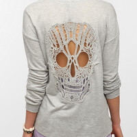 Urban Outfitters - Sparkle &amp; Fade Skull Lace-Back Sweatshirt