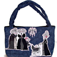 Denim Tote Bag Large Expecting Applique Beaded Chandelier Diaper Bag