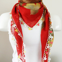 Red Floral scarf, multicolor, authentic, romantic, English Yemeni OYA scarf, scarf, elegant, fashion, Floral