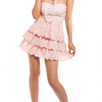 Pink Tiered/Ruffle Dress - Powdery Pink Darling Dress | UsTrendy