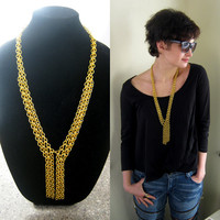 Chunky lariat necklace, gold tone, statement chainmail necklace