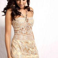 Gold Prom Dress - 3007 Gold Lace Gown | UsTrendy