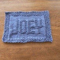 Joey a Personalized Hand Knit Dishcloth or Washcloth