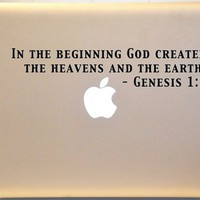 Macbook Genesis 1:1 Bible Verse Decal Mac Laptop