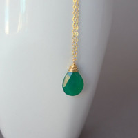 Chalcedony Necklace Gold Filled Emerald Green by BelleReveDesigns