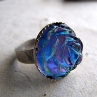 Vintage Rose Ring  Blue Purple Rose Ring Blurple by AshleySpatula