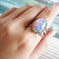 The rose vintage beautiful smooth oval fire opal by zipluxe