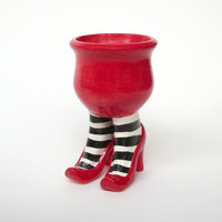 Handmade Ceramic Sex Pot with Heels and Striped by JMNPOTTERY