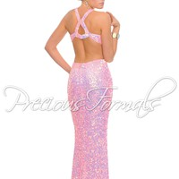 Precious Formals P8784 Plum Sequin Prom Dress