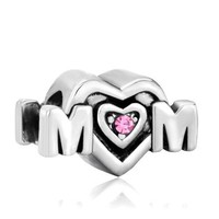 Pink Crystal Mom Heart Bead - Pandora Beads Charm