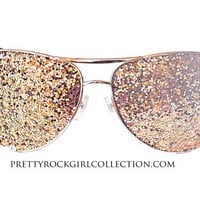 Unisex Glitter Aviator Sunglasses