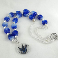Blue Bird Glass Bead Necklace by theotherstacey on Etsy