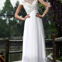 White Bridal Dress - Simple Jewelled White Wedding Dress | UsTrendy