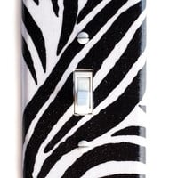 Zebra Single Toggle Switch Plate, wall decor