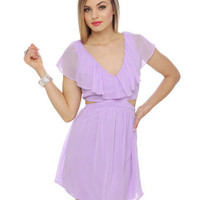 Cute Ruffle Dress - Lavender Dress - Purple Dress - Cutout Dress - $47.00