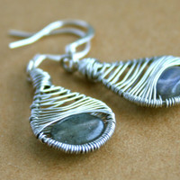 Labradorite and Silver Tone Wire Wrapped Earrings