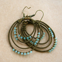 Bronze and Jade Green Wire Wrapped Hoop Earrings
