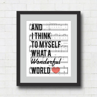 What a Wonderful World Art Print - 8x10&quot; Louis Armstrong Song Lyrics on Sheet Music Wall Art Print