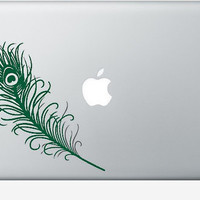 peacock feather laptop DECAL macbook PC computer by EyvalDecal