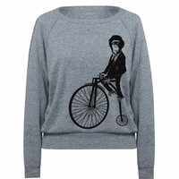 Womens MONKEY On Penny Farthing Bicycle Sweatshirt by lastearth