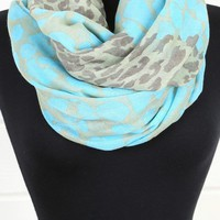 KSF2092 Blue Green Leopard Print Scarf and shop Accessories at MakeMeChic.com