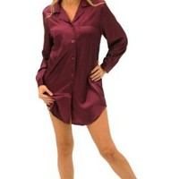 Amazon.com: Women's Sexy Satin Nightshirt, Sleepshirt & Sleep Mask: Clothing