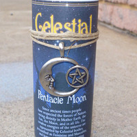 Pentagram Moon Celestial Wicca Pillar Candle With Amulet