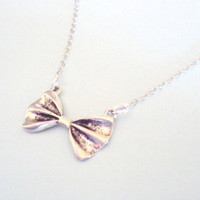 Bow Necklace, Antique Silver - Simple Everyday Jewelry