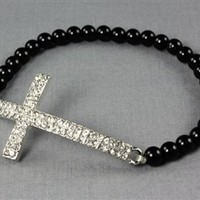 Metallic Bead Cross Bracelet | Appealing Boutique