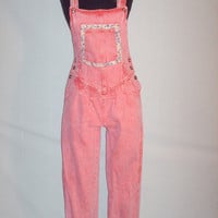 Vintage 1970s Red Overalls Denim Washed