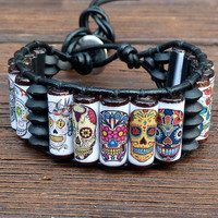 Sugar Skull Cuff Bracelet  Black Leather Dia De by ElectricPenguin