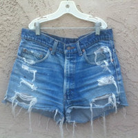 styledbyperuvian  Fabolous Distressed High Waisted Vintage Jean Shorts