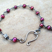 Red Bracelet in Sterling Silver Wire Wrapped by ZorroPlateado