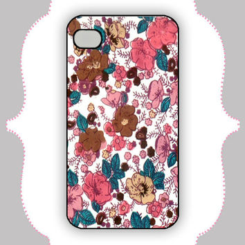iPhone Case Coral/Teal Flower Case iPhone 4 Case by CalisCases