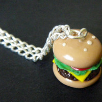 Hamburger Necklace  Handmade Polymer Clay by iCandyPetiteTreats