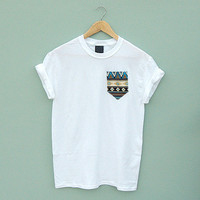 Blue Aztec Pocket Tee by Patch Apparel