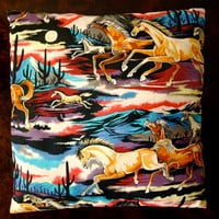 Vintage Midnight Rainbow Desert Horse and Cactus Colorful Cotton Throw Pillow
