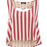 New Look Mobile | Te Amo Burgundy Stripe Heart Cut Out Top