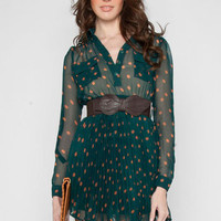 Dots to Pleats Belted Dress in Forest :: tobi
