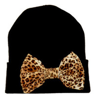MARIALIA Black Beanie with Leopard Bow : Karmaloop.com - Global Concrete Culture