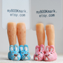Easter bunny slippers. Set of 2. Girly and Manly legs. Pastel pink and blue rabbit sneakers. Unusual bookmark for kids, her, mom, couple.